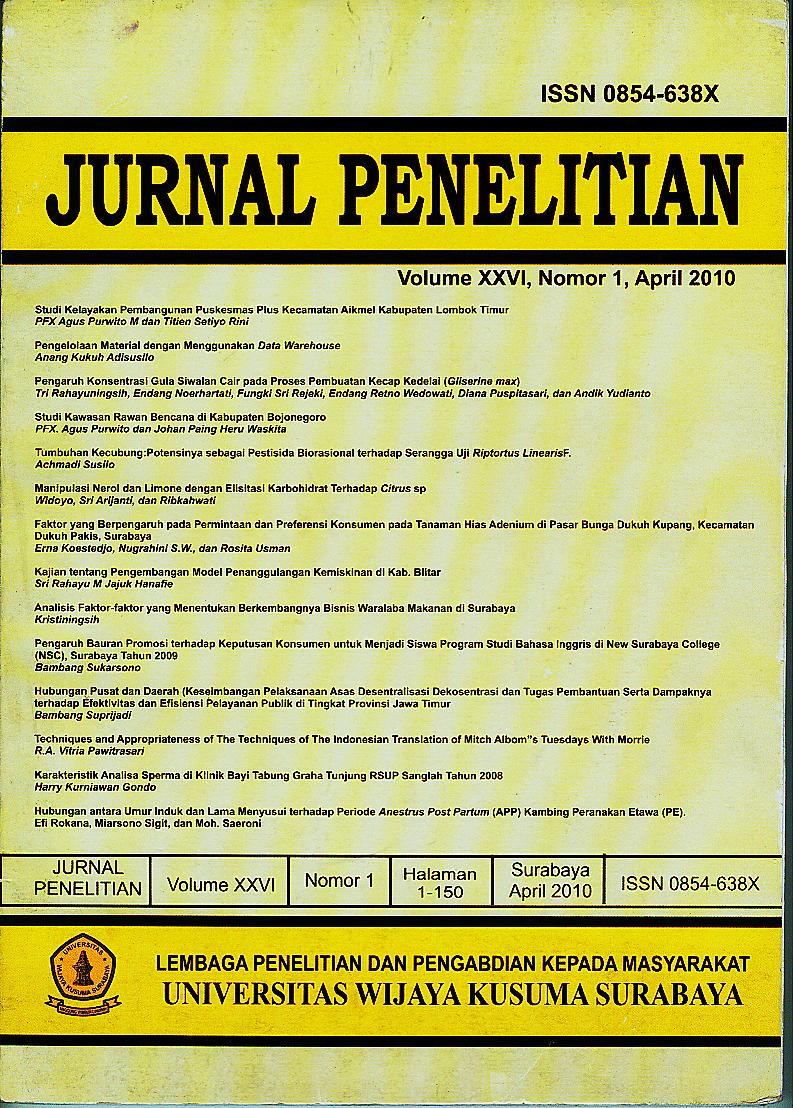 LPPM UWKS Vol XXVI No.1 April 2010