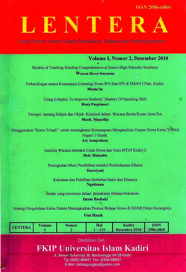 Lentera Volume I Nomor 2 Desember 2010
