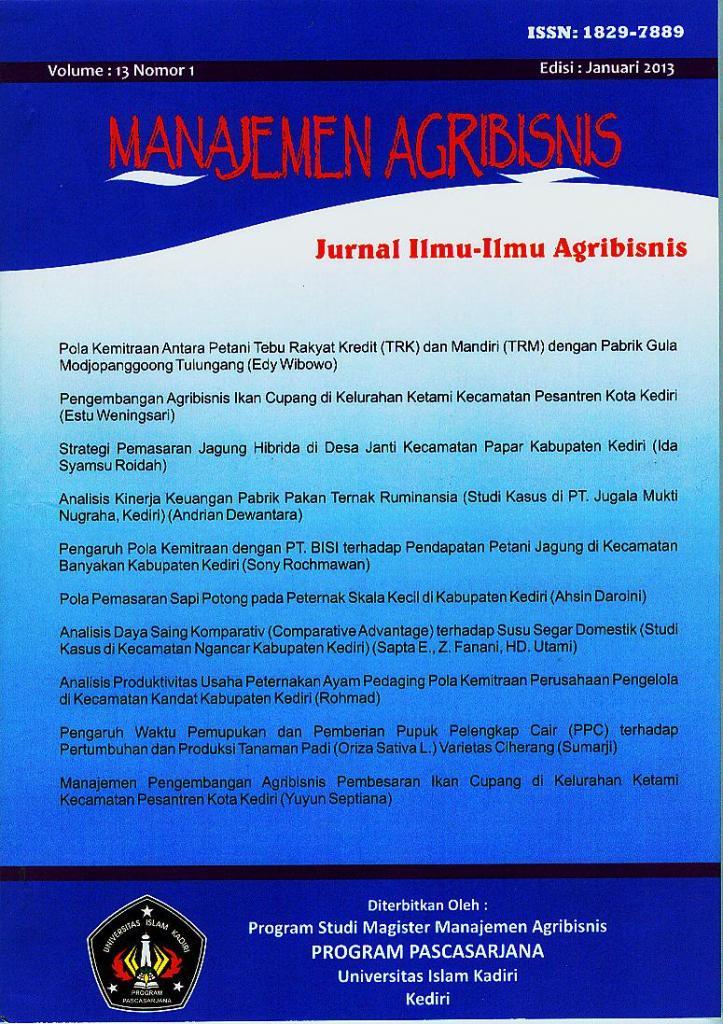 Manajemen Agribisnis Vol 13 No. 1 Januari 2013