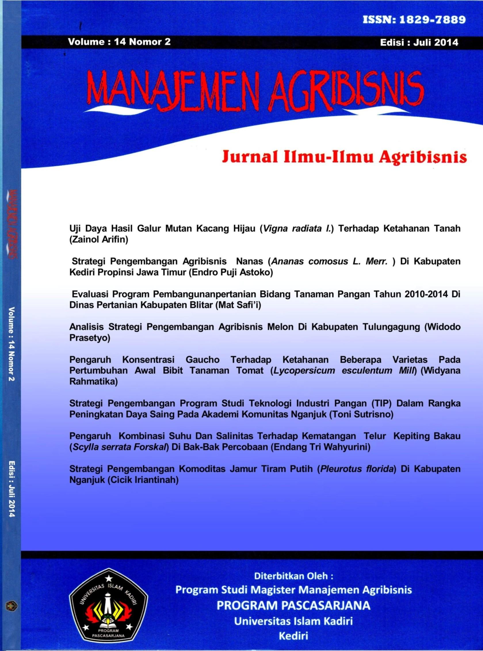 Agribisnis Volume 14 No.2 Juli 2014